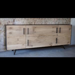 Credenza | dressoir, oud eiken gecombineerd met staal