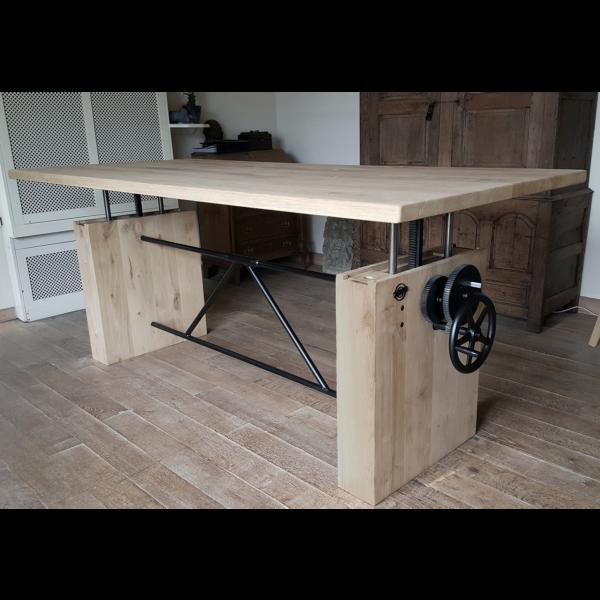 Eiken tafel in hoogte verstelbaar | opdraai tafel DT14