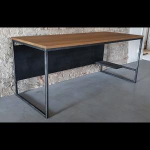 Industriële bureau - computer tafel - met rustiek eiken en stalen frame DT15