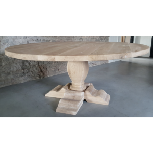 Ronde kloostertafel - rustiek eiken 4,5cm dik G020