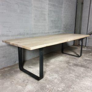 Industriële tafel, gebleekt oud eiken - Stalen onderstel - IND707
