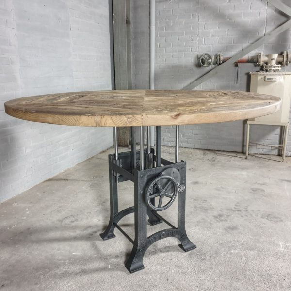 Ronde in hoogte verstelbare tafel industrieel, zonverbrand oud eiken tafelblad 5cm dik