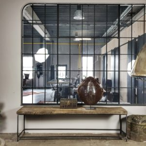Industriële wandtafel, zonverbrand oud eiken blad – stalen frame onderstel - IND710