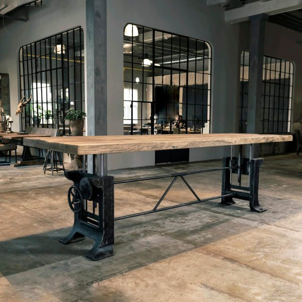 Hoogte verstelbare Industriële tafel, gietijzeren onderstel - Limited Edition NR-025