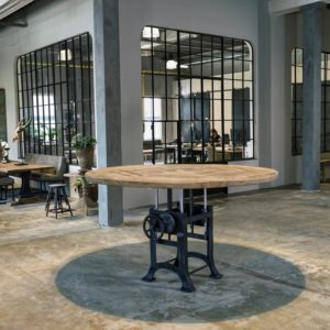 Ronde in hoogte verstelbare tafel industrieel, oud eiken tafelblad 5cm dik