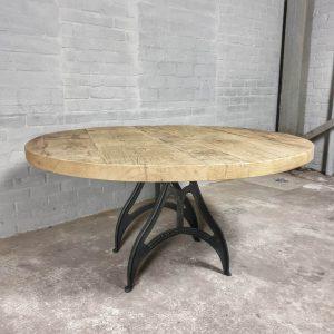 industriele-ronde-eettafel-massief-oud-eiken-tafelblad-6cm-dik-ind739-01